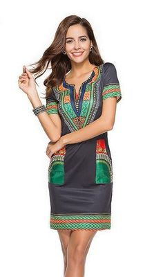 10ec5b89bb Women s V-Neck Pocket Patchwork Tunic Dress – 105 Hillside Dashiki Dress