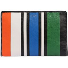 Balenciaga Women Bazar Striped Leather Pouch (53830 RSD) ❤ liked on Polyvore featuring bags, handbags, real leather handbags, leather bags, genuine leather handbags, 100 leather handbags and balenciaga handbags