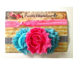 Neon Shabby Trio Headband Set Child to Adult in Neon Pink Black and White Chevron and Turquoise, $12.0