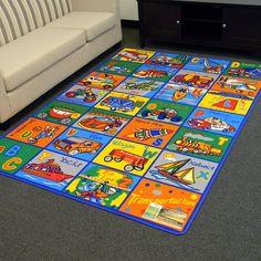 DonnieAnn PATRA Paradise-Alphabets Transportation design Multi color area rug 5 by 7 Abc For Kids, Alphabet For Kids, Transportation For Kids, Kids Area Rugs, Alphabet Design, Cross Patterns, Discount Rugs, Rectangular Rugs, Orange Area Rug
