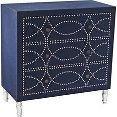 Crestview Cobalt Blue Fabric 3-Drawer Accent Chest - Style #7K616