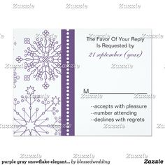 purple gray snowflake elegant winter wedding rsvp card purple gray snowflake mod elegant winter wedding rsvp. Matching products also available.