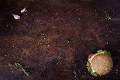 Delicious fresh homemade burger by Iuliia Leonova on @creativemarket