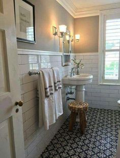 Is your home in need of a bathroom remodel? Give your bathroom design a boost with a little planning and our inspirational 65 Most Popular Small Bathroom Remodel Ideas on a Budget in 2018 Bathroom Tile Designs, Bathroom Renos, Bathroom Flooring, Bathroom Renovations, Bathroom Plants, Bathroom Furniture, Bathroom Makeovers, Budget Bathroom, Wainscoting Bathroom