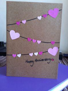 Hearts bunting anniversary card
