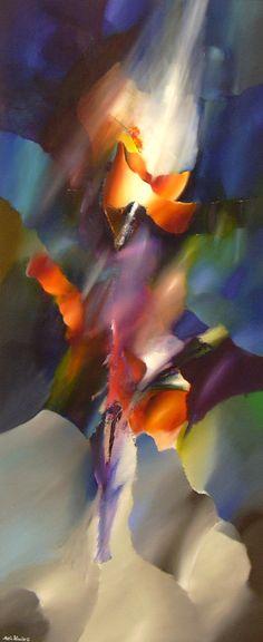 Arie Koning, kunst in vrolijke kleuren, kleurrijk abstract modern groot schilderij kleurig & fleurig, kleurrijke schilderijen