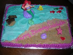 Easy Little Mermaid Ariel Cake with printable template Party