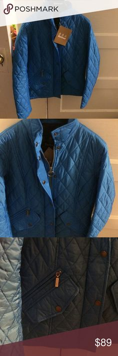 Blue Barbour Jacket.  NWT! US size 6 NWT! Blue Barbour quilted jacket.  US SIZE 6; fits more like 2-4.  Looks regal and is very comfy. Barbour Jackets & Coats