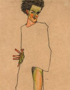 Egon Schiele - Selbstbildnis (Self-Portrait), Watercolour and charcoal on paper, 17 x 12 in. Gustav Klimt, Figure Painting, Figure Drawing, Painting & Drawing, Encaustic Painting, Egon Schiele Zeichnungen, Egon Schiele Drawings, Art Moderne, Life Drawing