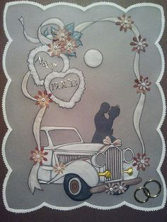 T T wedding car couple hearts completed. MARIAGE
