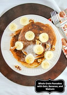 Whole Grain Pancakes with Oats, Bananas, and Walnuts on MyRecipeMagic.com