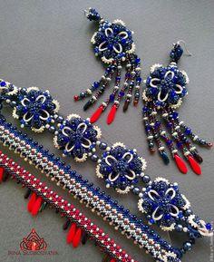 Купить UEC 0007 браслет серьги - тёмно-синий, красный, этно, этническое украшение