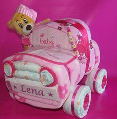 Windelauto + Bär + Schnullerkette in rosa ♦♦ - ein Designerstück von Geschenketorten-Gebhardt bei DaWanda - buy or try