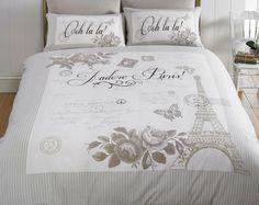 Double Paris Duvet Set  Ooh la la! Create the classic Parisian look. With 2 pillowcases. 48% cotton/52% polyester. Machine washable.