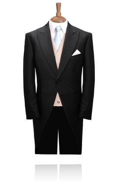 1 Button Black Herringbone Morning Suit with Striped Trousers | MyTuxedo