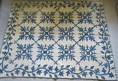"Antique Hawaiian Style Hand Stitched Quilt 1870s 86""x72"" Beautiful 