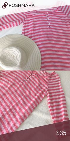 Jcrew Pool/Beach Coverup Pink striped swimsuit cover-up from Jcrew. Worn only a few times and in like new condition. Semi-sheer, lightweight fabric.  Feel free leave any questions in the comments and I'll be happy to help! 🚫 No trades right now, sorry! 🚫 J. Crew Swim Coverups