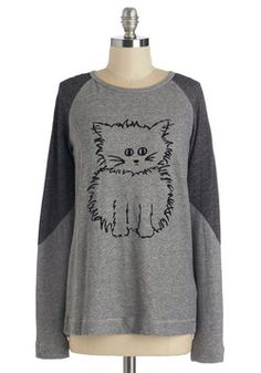 Meow Have You Been? Top. After out-of-town travel, you cant wait to catch up with your furry feline friend in this casual cat-print top. #grey #modcloth