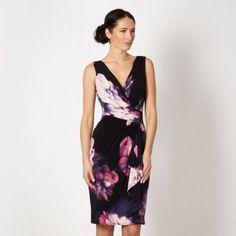 Debut Black floral waterfall ruched dress- at Debenhams.com