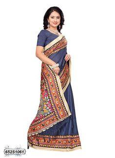 Navy Blue  Color Bhagalpuri Silk Saree - 652S1061  #sarees #sari #look #looking #popular #offers #design #collection #offers #new #trendy #design #fashion #zinngafashion #nice #design