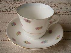 Vintage Colclough Longton England Bone China Pink Floral Cup And Saucer photo