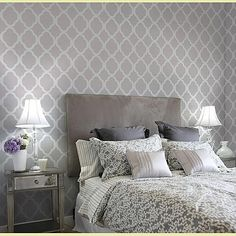 For the master bedroom wall that our bed is on - moroccan stencil design Home Bedroom, Master Bedroom, Gray Bedroom, Bedroom Ideas, Bedrooms, Bedroom Inspiration, Bedroom Designs, Gray Rooms, Serene Bedroom