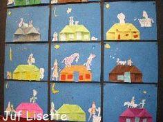Huis vouwen, Piet en Sint erbij plakken - juf Lisette
