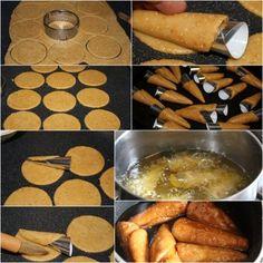 abonnez vous a ma newsletter si vous ne voulez rater aucune de mes réalisations. merci la recette du Gâteau Algérien que je vous poste aujourd'hui et la recette des cornets frits trempés dans le miel et farcis aux (amandes, noix de coco,et halwa turque),... Arabic Sweets, Arabic Food, My Recipes, Cake Recipes, Cooking Recipes, Tunisian Food, Cuisine Diverse, Ramadan Recipes, Home Baking