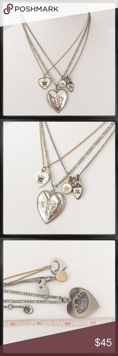 Juicy Couture Triple Strand 4 Charm Necklace Gold and silver tone chains with iconic JC heart and Scotty dog charms. New condition. Great piece! Juicy Couture Jewelry Necklaces