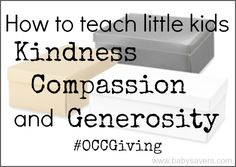 How to teach little kids about kindness, generosity and giving back to the community. #occgiving