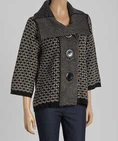 Look at this Gray Textured Button-Up Wool-Blend Cardigan on #zulily today!