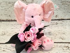 Elephant Baby Bouquet - Girl, Baby Shower Gift
