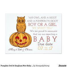 Pumpkin Owl & Gingham New Baby Announcement