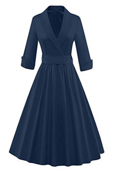 d93b07ccd09 YYear Womens Vintage 1950s Wrap V Neck Pleated Swing Party Dress With Belt  1 S -- Click for Special Deals  VintageDresses