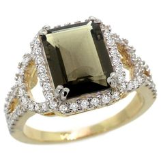 14k Gold Smoky Topaz Halo Engagement Ring - This very elegant & beautiful Emerald shaped Smoky Topaz Halo Engagement Ring is crafted from Solid 14 Karat Gold set with Genuine Diamonds & a Precious Gem. It is stamped in 14k Yellow gold with a total gem weight of 3.51 carats within a prong setting. The total number of stones on this engagement ring is 71 with a diamond clarity of SI1-SI2. The diamonds are all 100% Natural & are heat treated. #unusualengagementrings