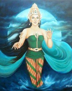 Nyai Roro kidul! Sea Queen, Sacred Feminine, Arts And Entertainment, Gods And Goddesses, Indian Art, Deities, Female Art, Art Images, Mythology