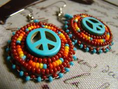 Native American Beaded Turquoise Peace earrings, handmade by Oglalawin