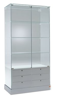 Premier 100 Display Showcase with six lockable drawers. Available in white and grey.