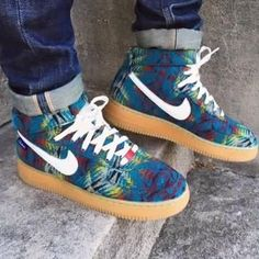 Custom Nike AF1's Custom Nike Air Force One made them personally there's not another pair in a world like them worn once. No imperfections comes in the original box the words Thai and gei are on the back of them. But can be taken off Nike Shoes Sneakers