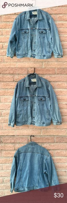 Vintage Denim Jacket Vintage Eddie Bauer Denim Jacket  Women's size XL  Has a couple small unnoticeable stains and some distressing see photos  Otherwise great condition and super cute worn oversized! Eddie Bauer Jackets & Coats Jean Jackets