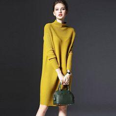 Pullover Sweater Women Winter Long Sleeve Knitted Dress Wool Dresses Plus Size