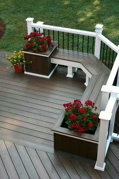 Deck bench seat, no planters, but lift up tops for storage under all seats