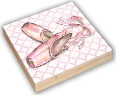 pink trellis ballet shoe art panel pink moroccan by AveQcollection Wood Art Panels, Panel Art, Little Girl Rooms, Little Girls, Moroccan Pattern, Shoe Art, Kids Decor, Trellis, Ballerina