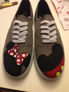 Mickey and Minnie painted canvas shoes