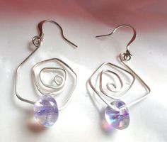 Silver Maze Geometric Earrings With Lavender AB by fatdogbeads, $15.00