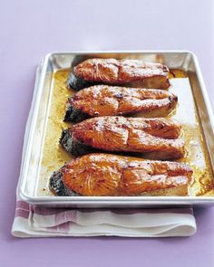 Salmon Steaks With Hoisin Glaze - Martha Stewart Recipes....the grocery store didnt have hoisin sauce, so we used juice of half an orange, soy sauce, and honey.  AMAZING.  Tasted just like unagi sushi sauce!  new favorite salmon recipe :)