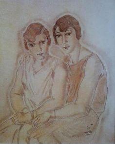 1927 Les deux amies Fusain, pastel et estompe sur calque marouflé sur toile 65 x54 cm  Collection particulière source S.Buisson T2