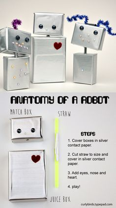 DIY Robot craft for kids - make a whole family of cute little robots!