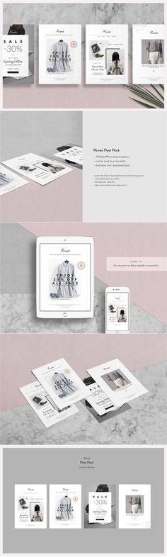 4 Editorial Postcard Flyers - Renée by Nonola on @creativemarket