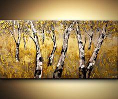 Bouleau or arbre paysage peinture Texture lourde par OsnatFineArt